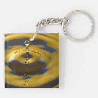 Descenso del agua amarilla y azul llavero cuadrado acrílico a doble cara