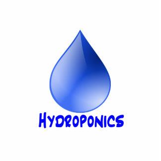 Descenso del agua del logotipo del hidrocultivo e  esculturas fotográficas