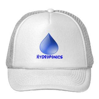 Descenso del agua del logotipo del hidrocultivo e  gorras de camionero