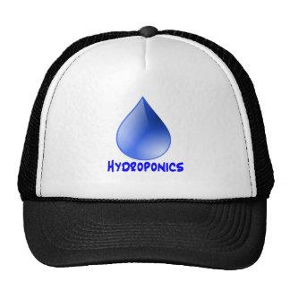 Descenso del agua del logotipo del hidrocultivo e  gorros