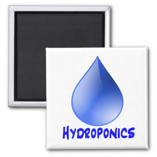 Descenso del agua del logotipo del hidrocultivo e  imán cuadrado