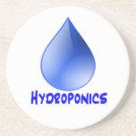 Descenso del agua del logotipo del hidrocultivo e  posavasos manualidades
