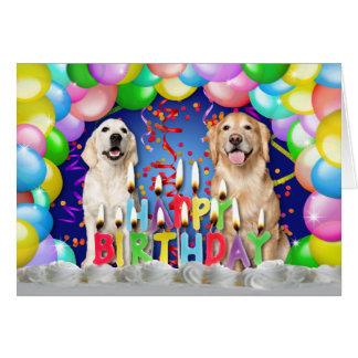 Descenso del globo del cumpleaños - perros perdigu