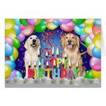 Descenso del globo del cumpleaños - perros tarjeta de felicitación