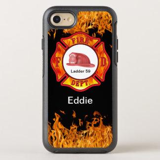 Descenso del nombre del defensor del bombero funda OtterBox symmetry para iPhone 7