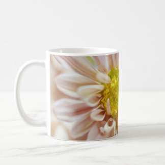 Descenso delicado de la flor y del agua del meloco taza de café