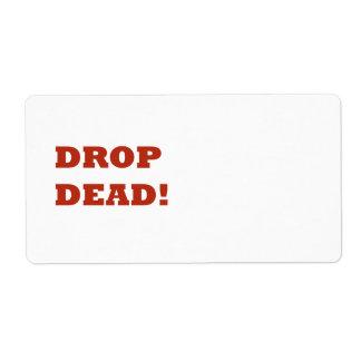 Descenso muerto etiqueta de envío