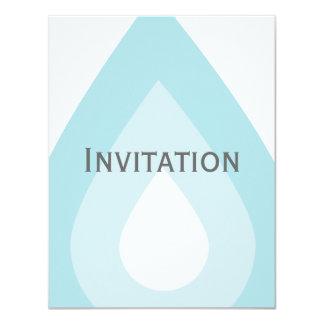 Descenso simple del agua azul invitación 10,8 x 13,9 cm