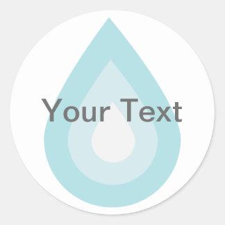 Descenso simple del agua azul etiqueta redonda