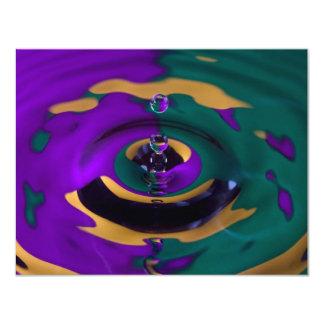 Descenso verde y amarillo púrpura del agua invitación 10,8 x 13,9 cm