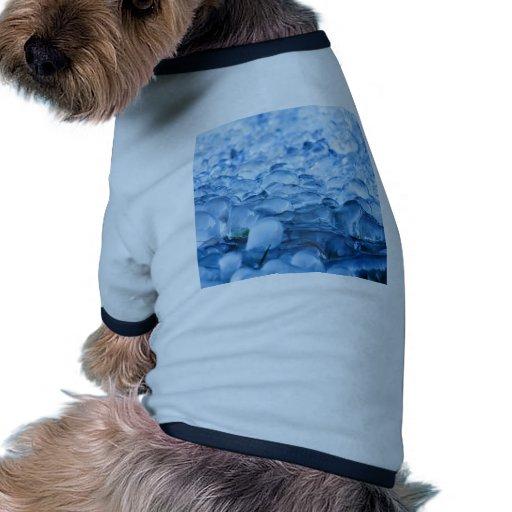 Descensos abstractos azules del agua de los crista camiseta con mangas para perro