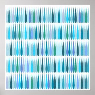 Descensos abstractos del azul del arte pop poster