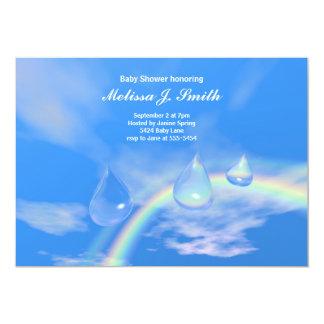 Descensos azules del arco iris para la fiesta de invitación 12,7 x 17,8 cm