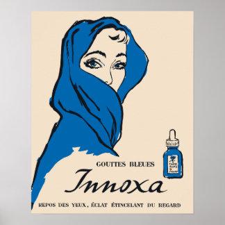 Descensos de ojo franceses del vintage anuncio, mu poster