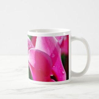 Descensos de rocío en la flor taza de café