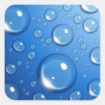 Descensos del agua en azul pegatina cuadrada