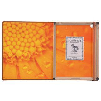 Descensos del agua en la flor anaranjada iPad protector