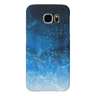 Descensos del agua en un fondo abstracto azul funda samsung galaxy s6