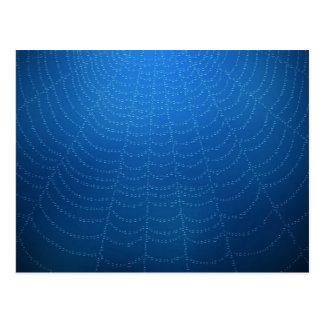 Descensos del agua en una tela de araña (azul) postales