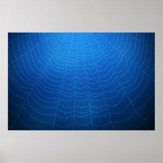Descensos del agua en una tela de araña (azul) póster