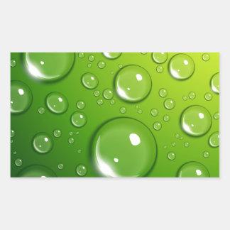 Descensos del agua en verde pegatina rectangular