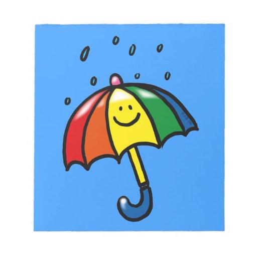 Descensos del paraguas y de la lluvia del arco iri blocs de notas