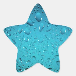 Descensos frescos del agua azul pegatina en forma de estrella