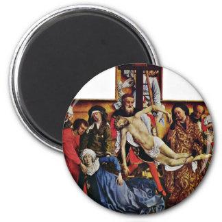 Descent From The Cross By Weyden Rogier Van Der 2 Inch Round Magnet