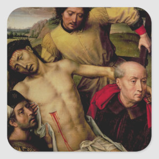 Descent from the Cross, left hand panel Square Sticker