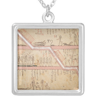 Descent of the sarcophagus into the tomb silver plated necklace