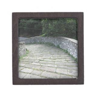 Descent stone walkway of medieval bridge jewelry box