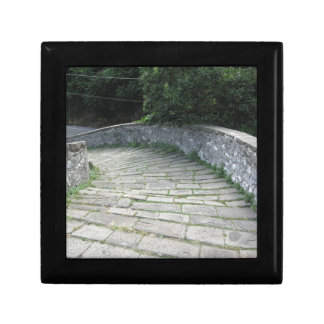 Descent stone walkway of medieval bridge keepsake box