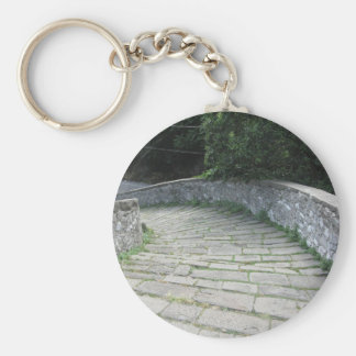 Descent stone walkway of medieval bridge keychain