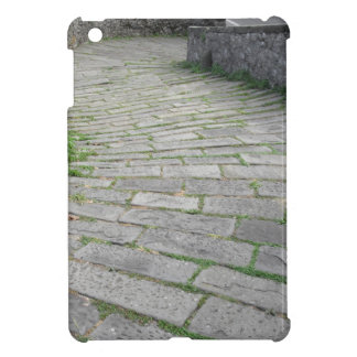 Descent stone walkway of medieval bridge known as case for the iPad mini