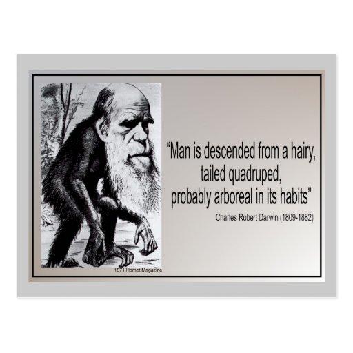 Descienden al hombre del ~ de la cita de Darwin de Postales