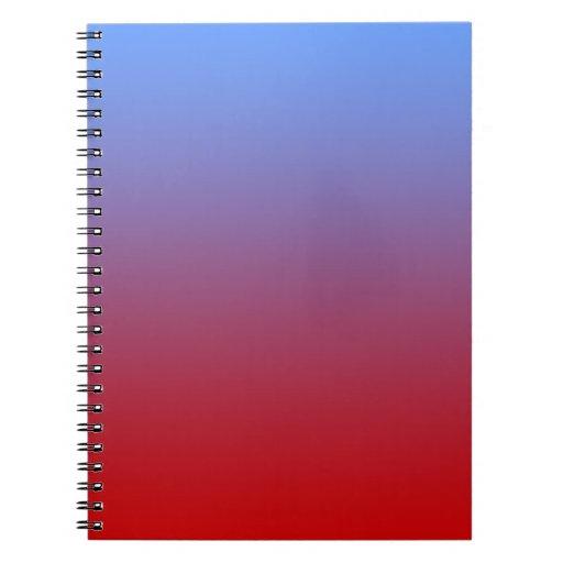 Descoloramiento rojo a los colores azules, diseño  libro de apuntes