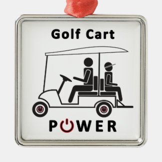Descr-Golf Cart Power (Black with Red) Metal Ornament