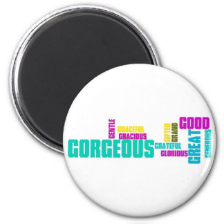 Describe yourself With Adjectives - G 2 Inch Round Magnet