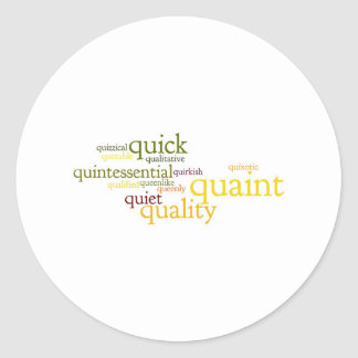 Describe yourself With Adjectives - Q Classic Round Sticker