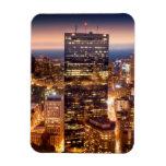 Descripción de Boston en la noche Rectangle Magnet