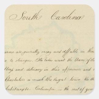 Descripción de Carolina del Sur Calcomanía Cuadrada Personalizada