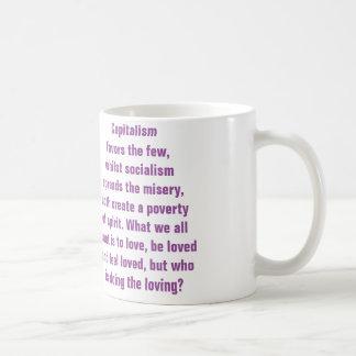 Descripción del capitalismo y del socialismo taza de café