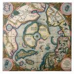 Descriptio del terrarum de Septentrionalium, mapa  Azulejo Cuadrado Grande