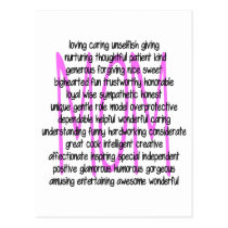 Descriptive Words For Mom Postcard