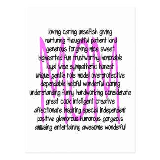 Descriptive Words For Mom Postcards