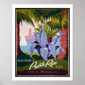 Descubra el poster del viaje del vintage de Puerto