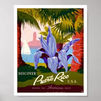 Descubra el vintage de Puerto Rico Póster
