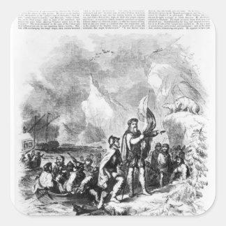 Descubrimiento de América por Juan y Sebastian Pegatina Cuadrada