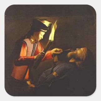 Descubrimiento del cuerpo de St. Alexis por el Pegatina Cuadrada