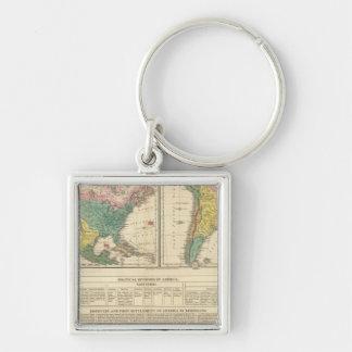 Descubrimiento europeo del mapa del atlas de Améri Llavero Personalizado